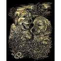 Puppies Playing - Reeves Medium Scraperfoil Gold